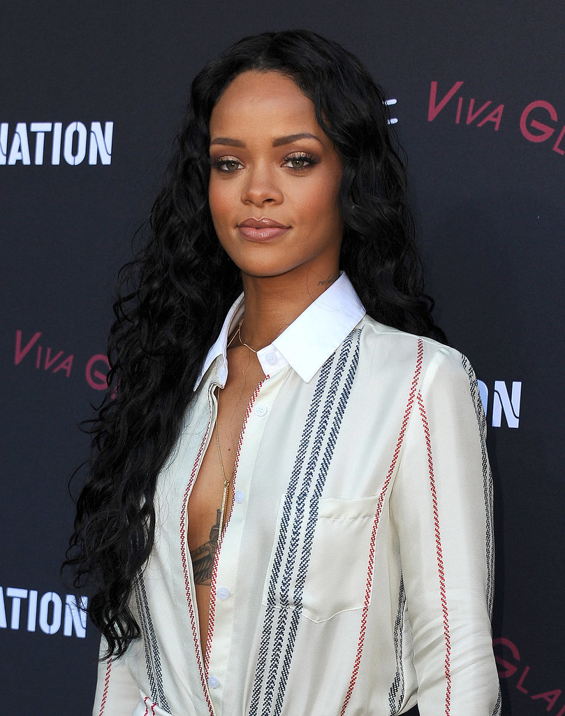 Currently, Rihanna is fluctuating between a shoulder-length bob and these waist-length locks, which she wore to the Roc Nation pre-Grammys party this year.