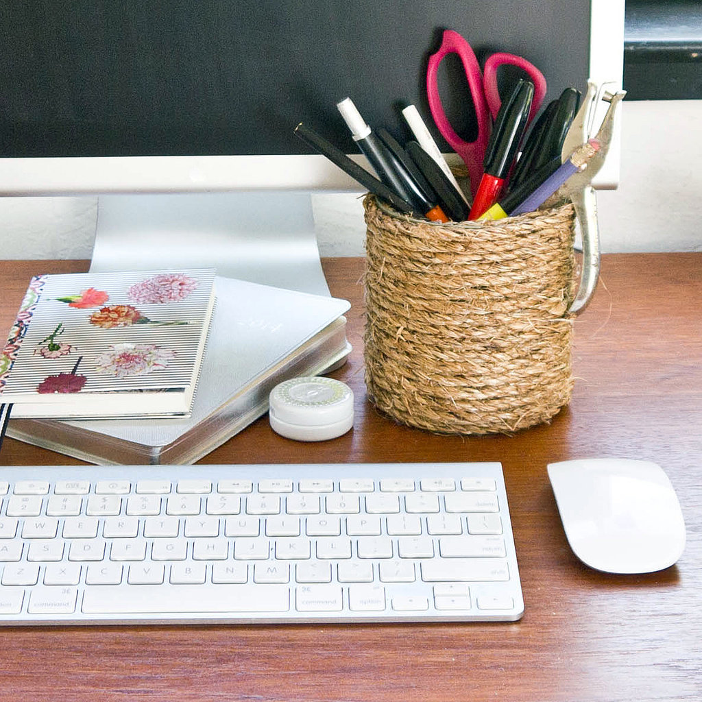 Diy rope covered can popsugar smart living for Diy office accessories