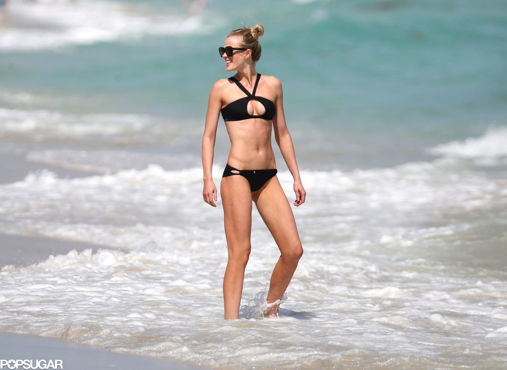 Anne Vyalitsyna put her bikini body on display on Wednesday, when she hit the beach in Miami.