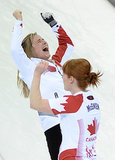 Canada's Jennifer Jones and Dawn McEwen were ecstatic after winning gold in women's curling.