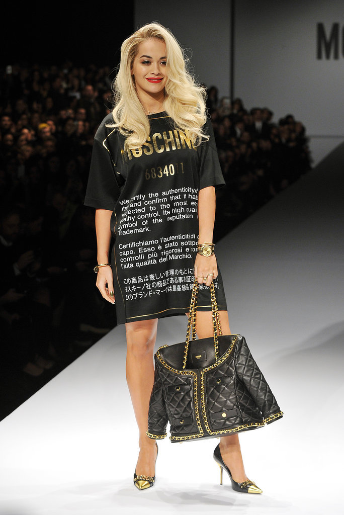 Rita Ora Walking in the Moschino Fall 2014 Runway Show