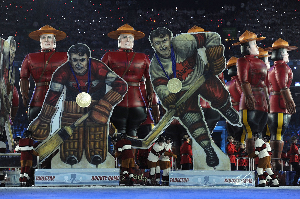 Giant images of hockey players were on display.
