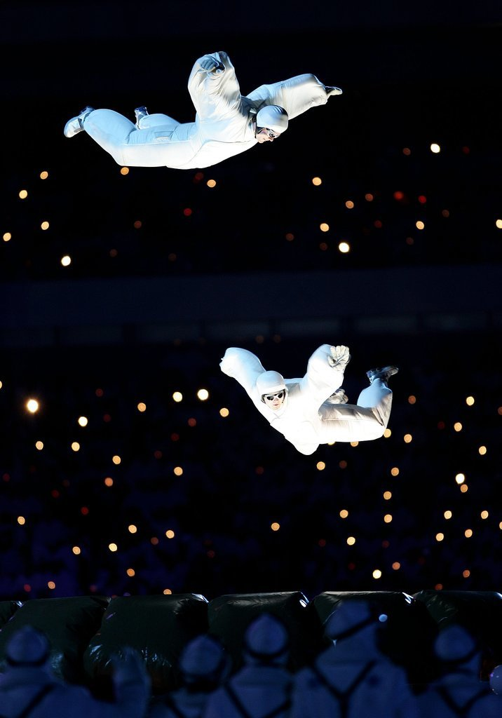 And acrobats floated in mid-air.