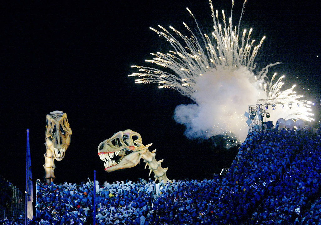 No fireworks show is complete without dinosaur skeletons.