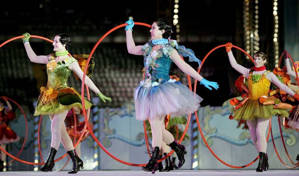 Dancers took to center stage with hula hoops.