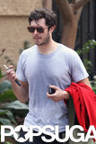 Adam Brody showed off his wedding ring after he and Leighton Meester got secretly married.