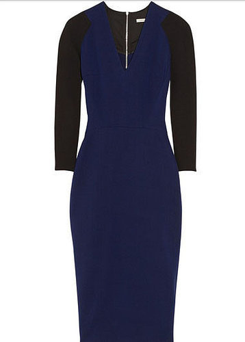 V-Neck Color Matching Dress With Zipper
