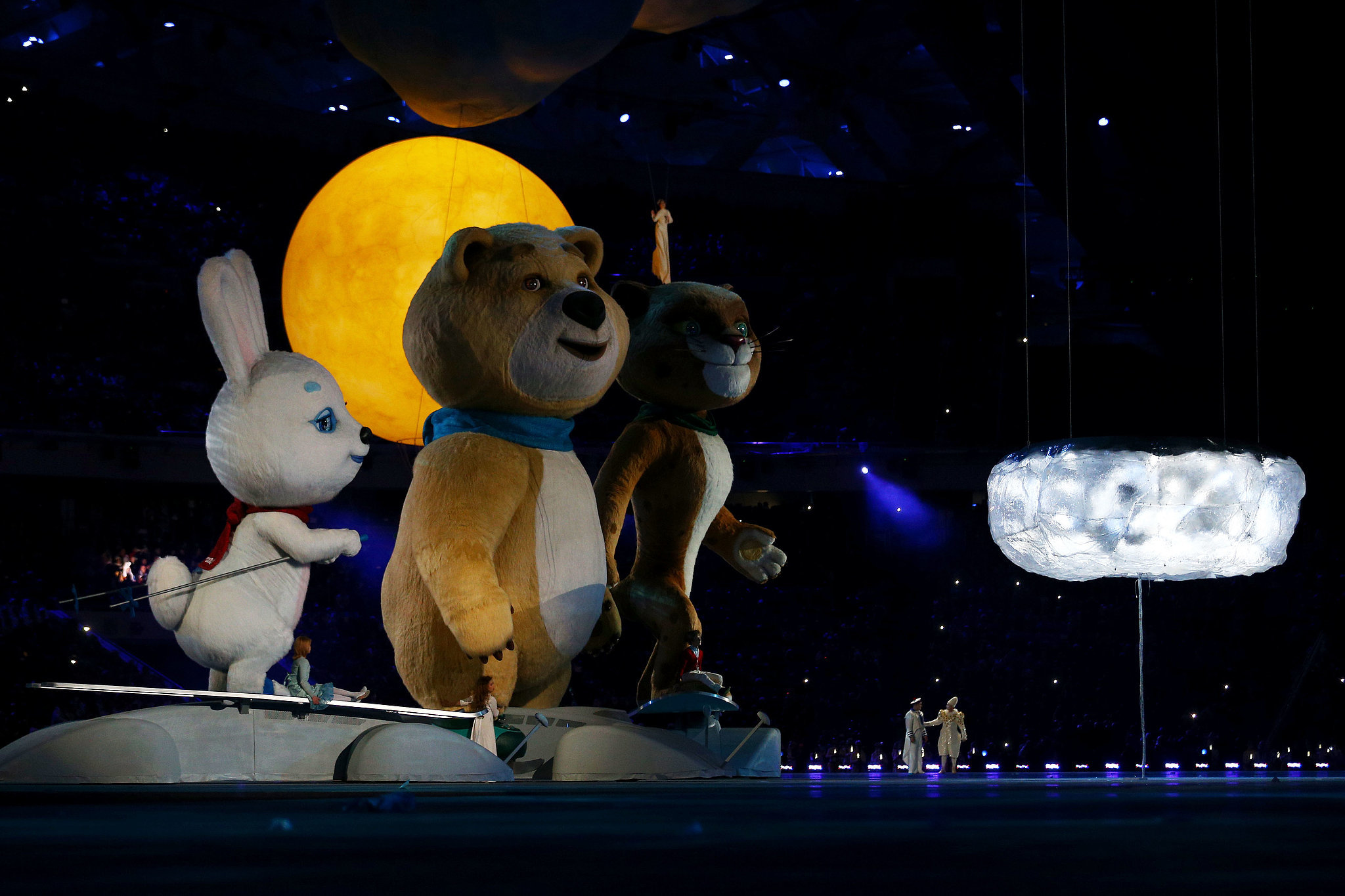 The Sochi mascots made their way to the center of the arena.