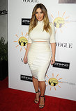Kim Kardashian in White Crop Top and Pencil Skirt
