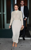 Kim Kardashian in White Mesh Top and Long Skirt