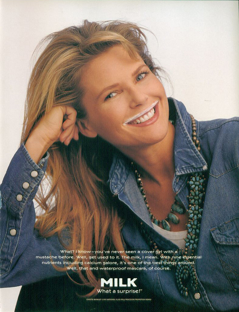 Christie Brinkley added a milk mustache to her model smile.