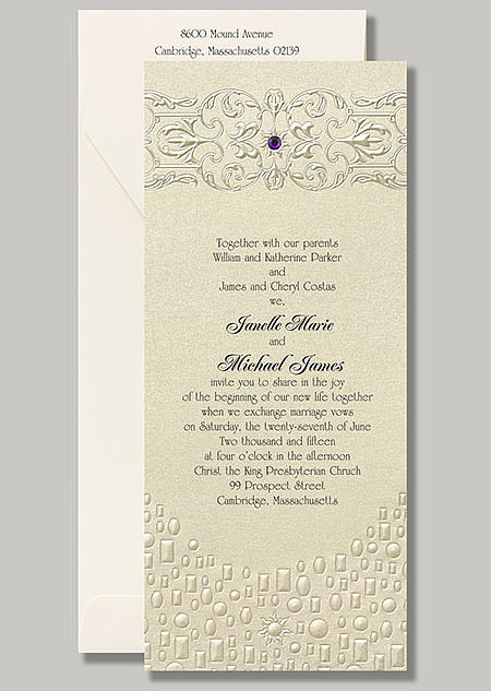 "A pop of purple and embossed lanterns give this Rapunzel stationery, ""Flowing Artistry,"" its Tangled flair."