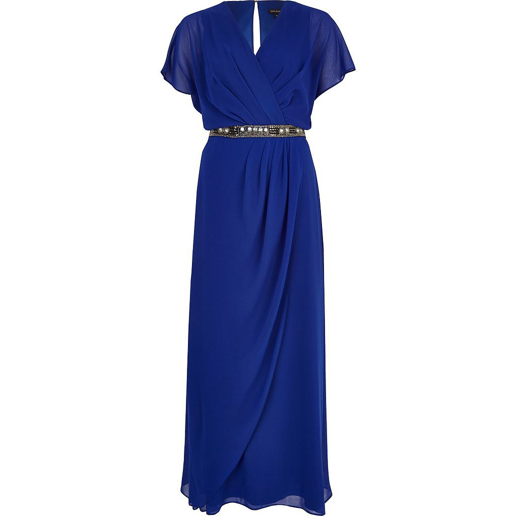 River Island Blue Embellished Waist Draped Maxi Dress