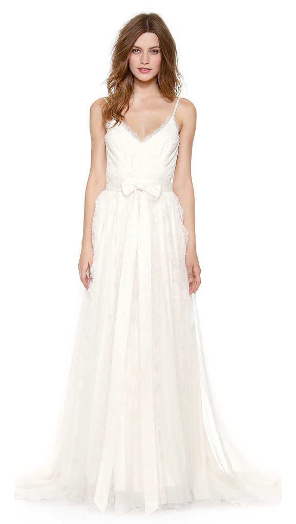 Marchesa Scallop Lace Gown With Bow Detail at Waist ($5,950)