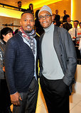Jamie Foxx and Samuel L. Jackson flashed their pearly whites at the Armani bash on Friday.