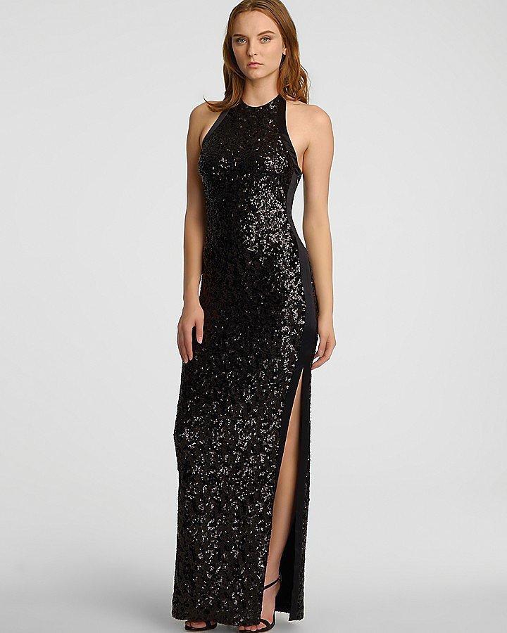 Halston Heritage Black Sequin High-Neck Dress ($495)