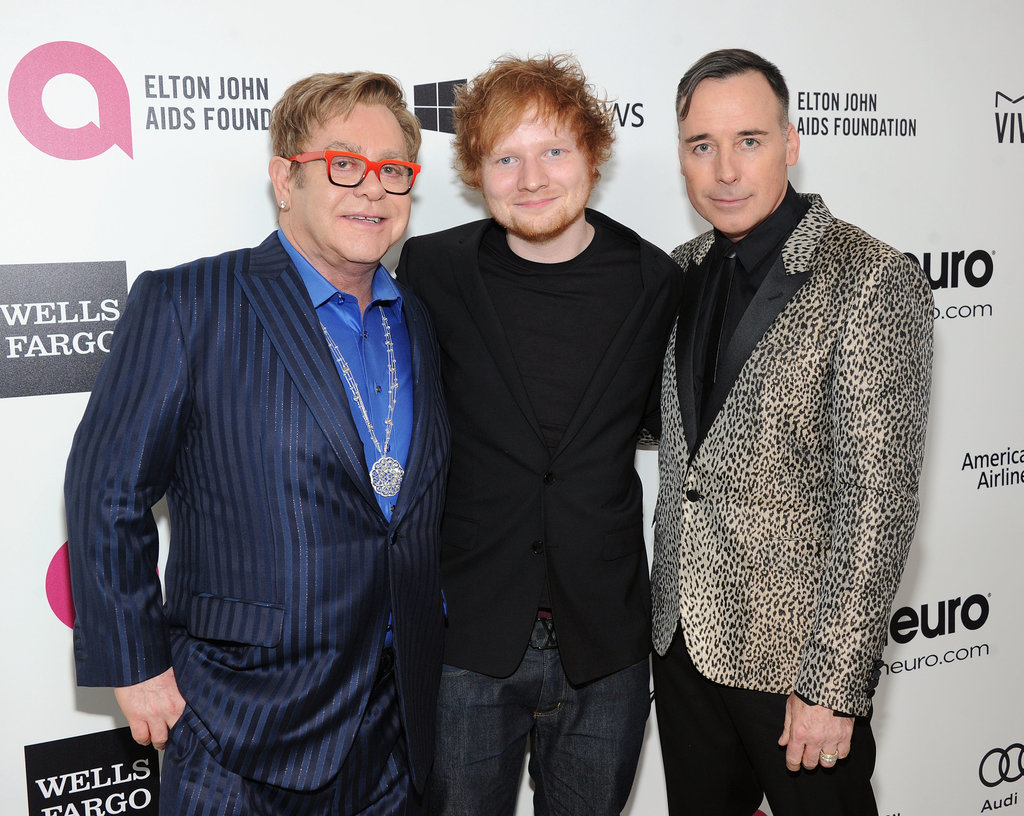 Elton John and his partner, David Furnish, posed with Ed Sheeran.