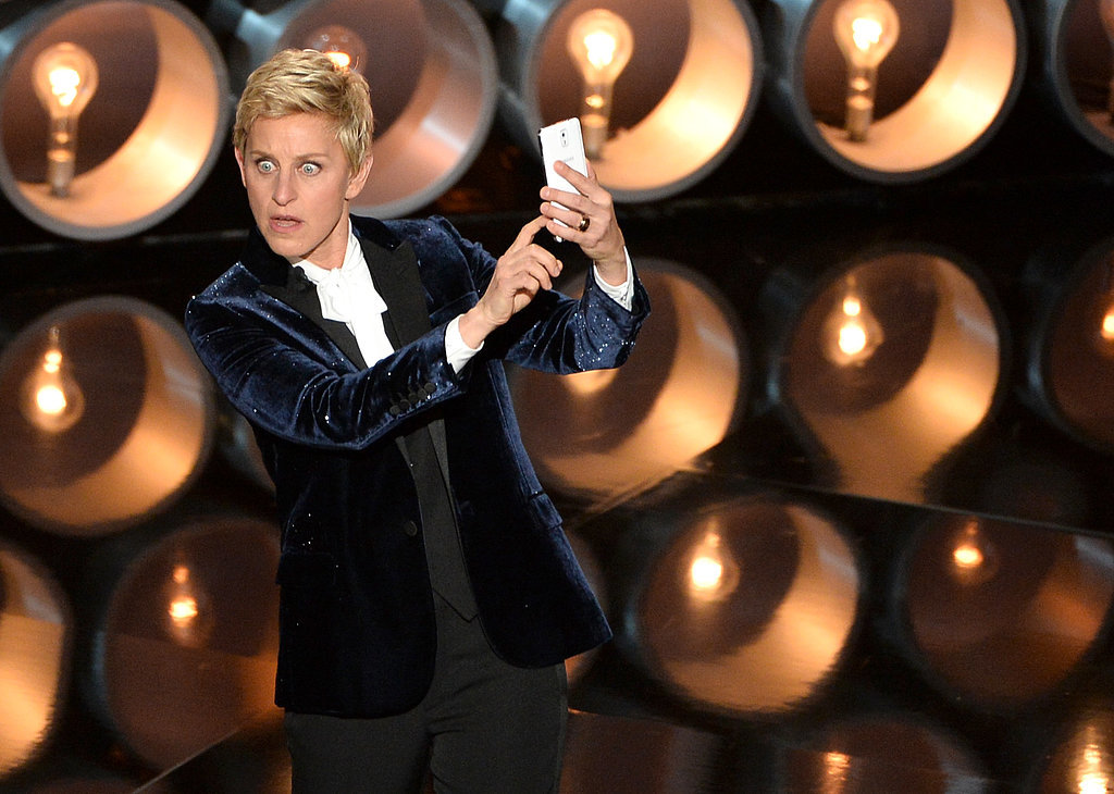 Host Ellen DeGeneres snapped a selfie on stage to capture the moment.