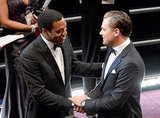 Best actor nominees Chiwetel Ejiofor and Leonardo DiCaprio shook each other's hands ahead of the show.