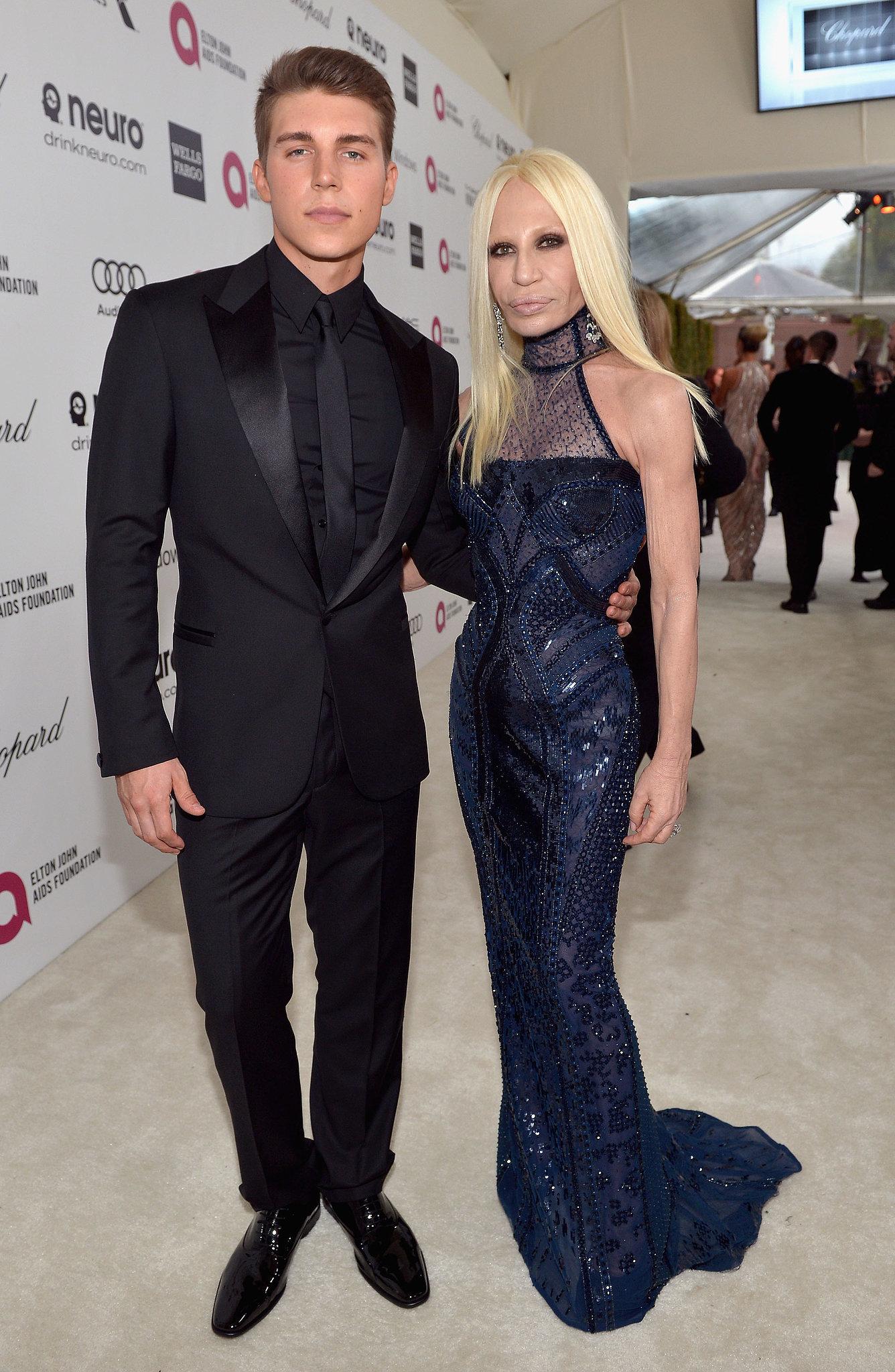 Donatella Versace wore a blue body-conscious gown when she posed with    Donatella Versace Boyfriend