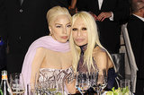 Lady Gaga sat with Donatella Versace.