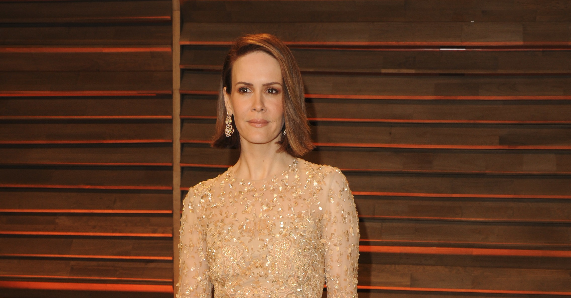 Sarah Paulson Went Nude Colored Dress