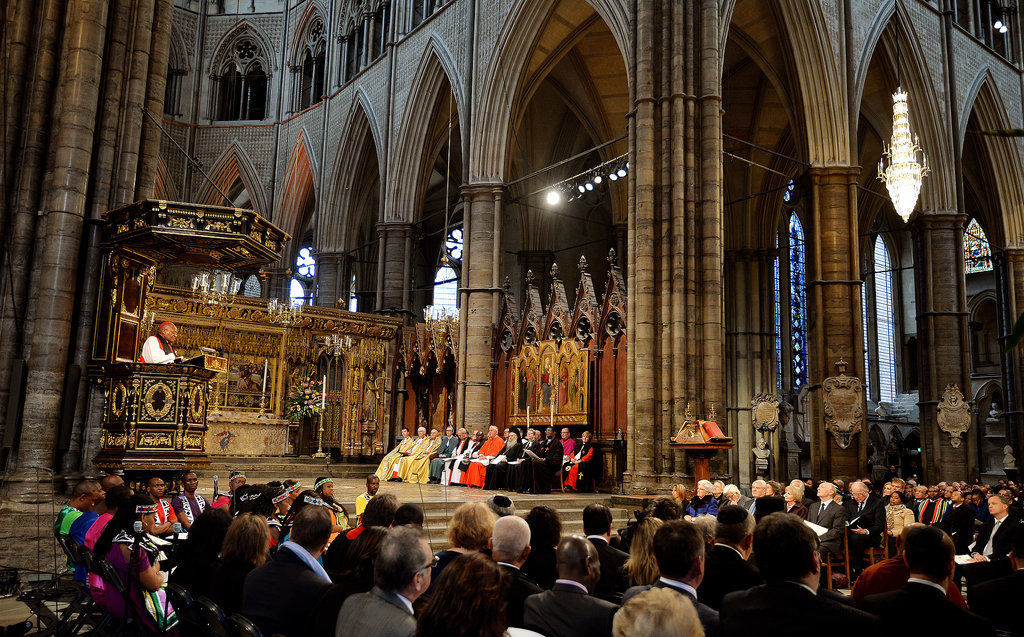 The National Service of Thanksgiving honoring Nelson Mandela's life and work took place at Westminster Abbey in London.