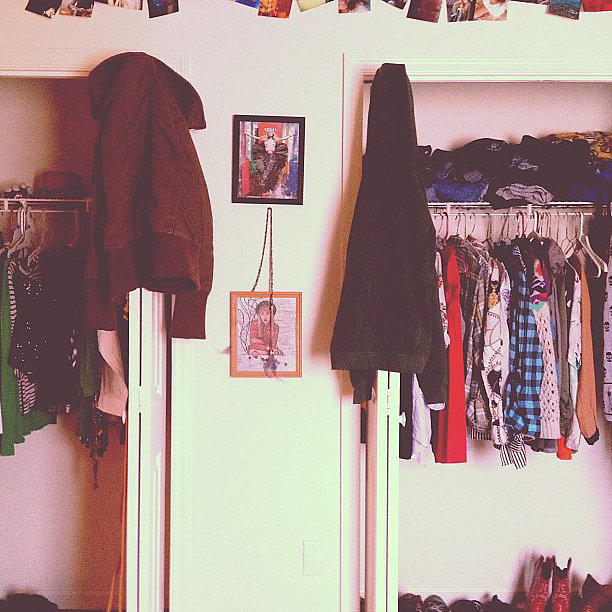 If there's one thing that makes a great closet, it's when it reflects your fun personality. One of the best things about this closet is the funky prints and accessories that give it extra flair. Your closet is probably the most fun space in your entire place, so follow suit!  Source: Instagram user indirabroccoli