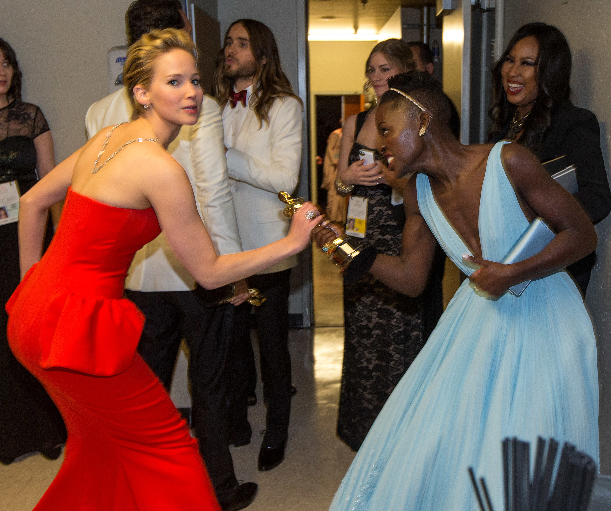Jennifer Lawrence got grabby backstage when she tried to take Lupita Nyong'o's