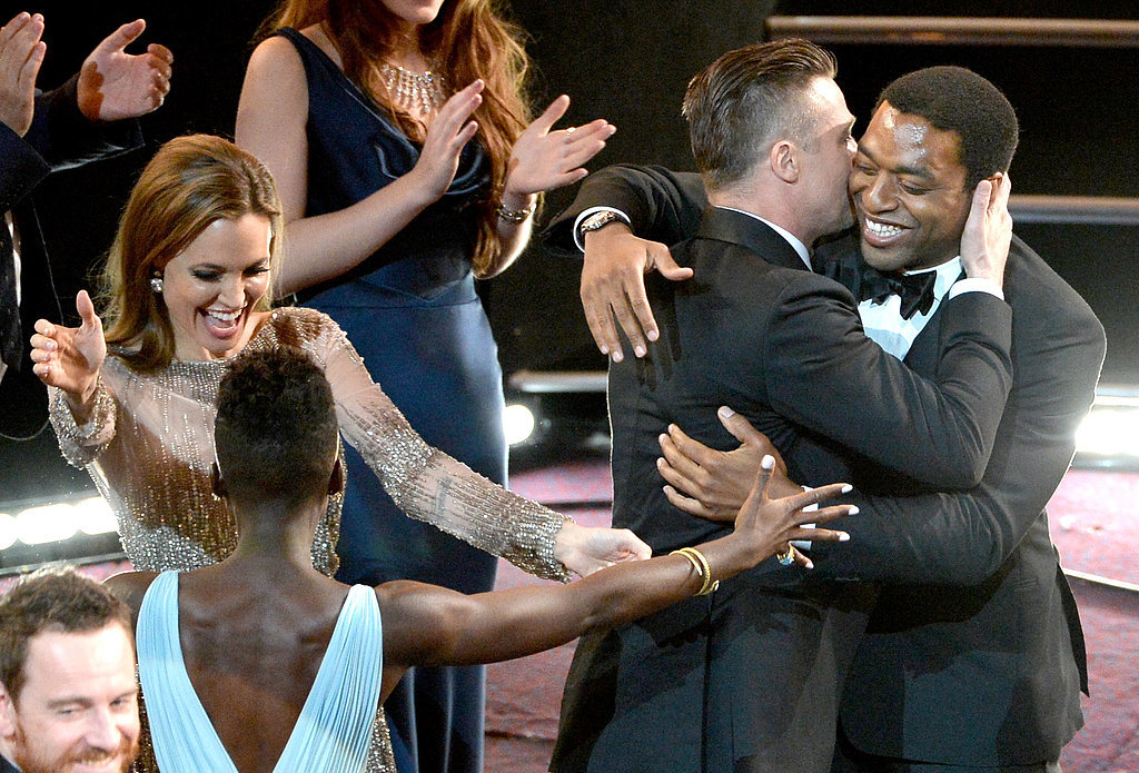 Angelina Jolie, Brad Pitt, Lupita Nyong'o, and Chiwetel Ejiofor couldn't contain their excitement when 12 Years a Slave won best picture.