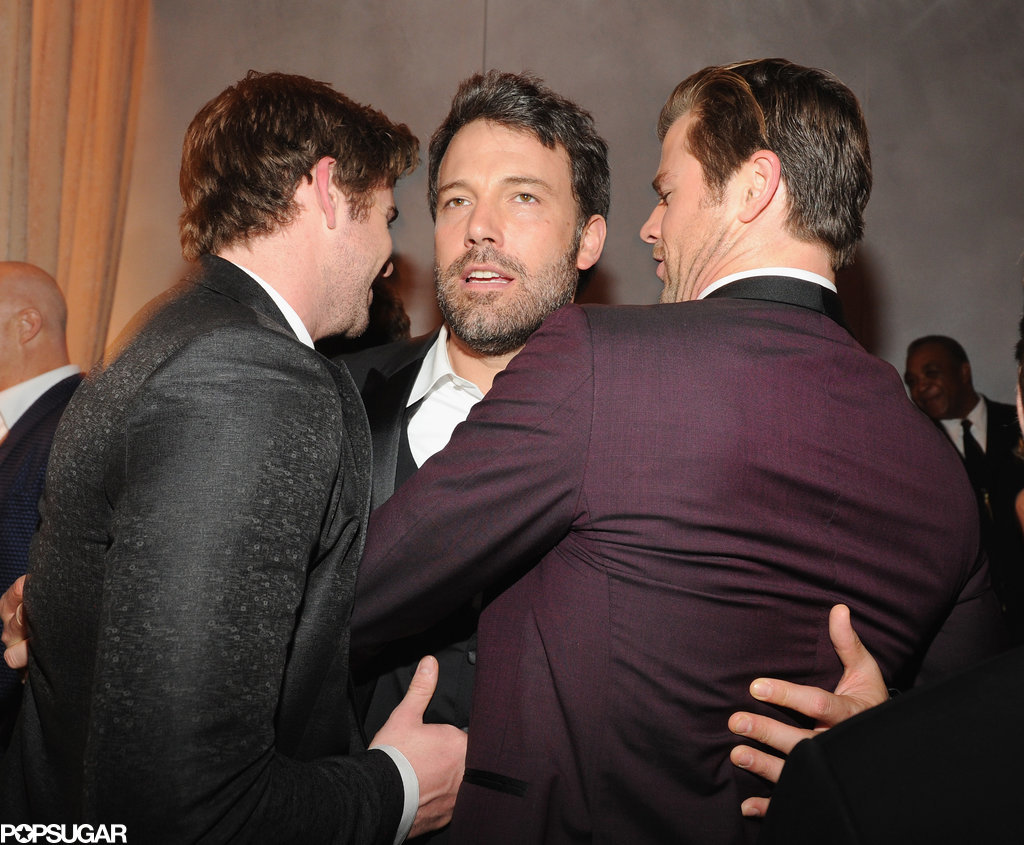 Ben Affleck was in the middle of a Hemsworth brother sandwich at the Vanity Fair afterparty.