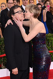 Jennifer Lawrence kissed director David O. Russell at the SAG Awards.