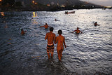 In Venezuela, a couple took in the Carnival holiday with a sunset dip.