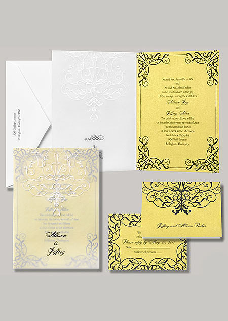 "Belle stationery, titled ""Love's Transformation,"" is just as grand as the Beast's castle."