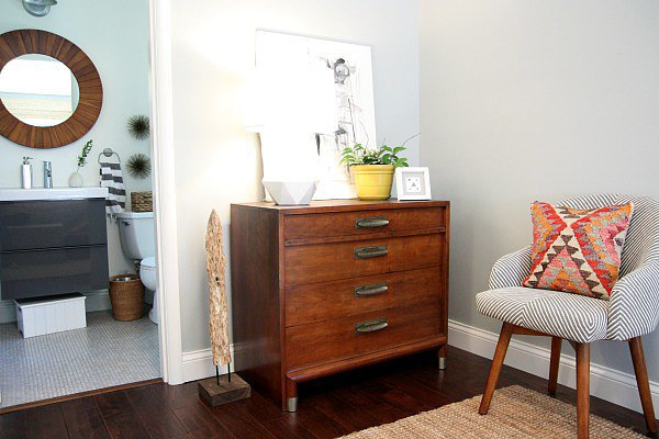 Speaking of furniture that has more than one purpose, this dresker — aka dresser-desk hybrid — is genius! Don't be afraid to DIY it.  Source: Dana Miller for House*Tweaking