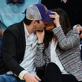 Mila Kunis and Ashton Kutcher Kiss at Lakers Game
