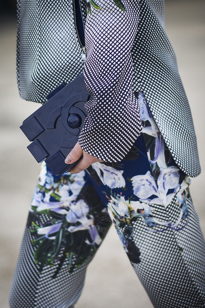 What better to counter a modern little Chanel Lego clutch than dreamy florals?