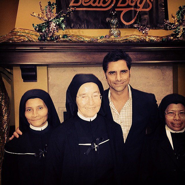 """Last night at the Beach Boys gig. 'Jesse and the Sisters,'"" John Stamos captioned this photo of himself and three nuns. Source: Instagram user johnstamos"