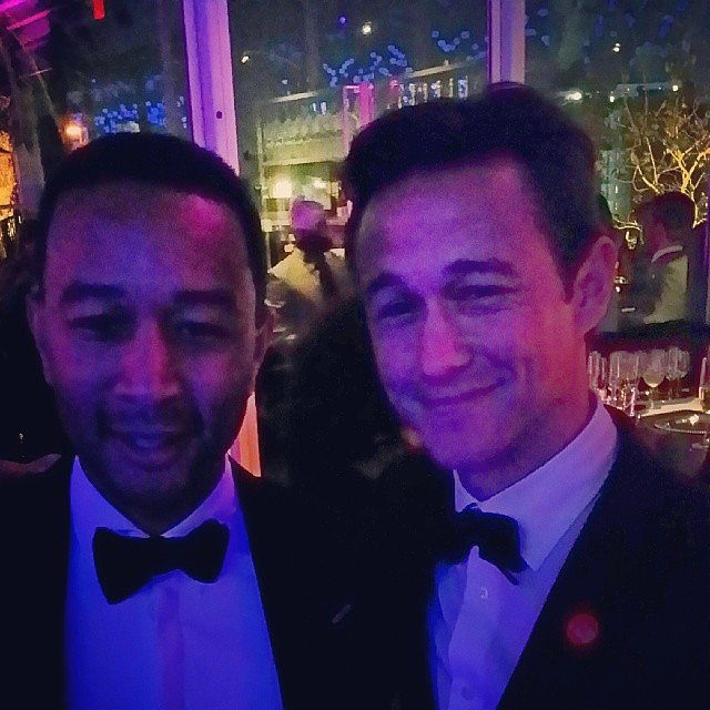 John Legend and Joseph Gordon-Levitt matched in bow ties at the Oscars. Source: Instagram user johnlegend