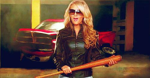 Meanwhile, only Carrie could look this cute with a bat in her hand.