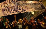 Demonstrators in Madrid drew attention to women's rights issues on International Women's Day.