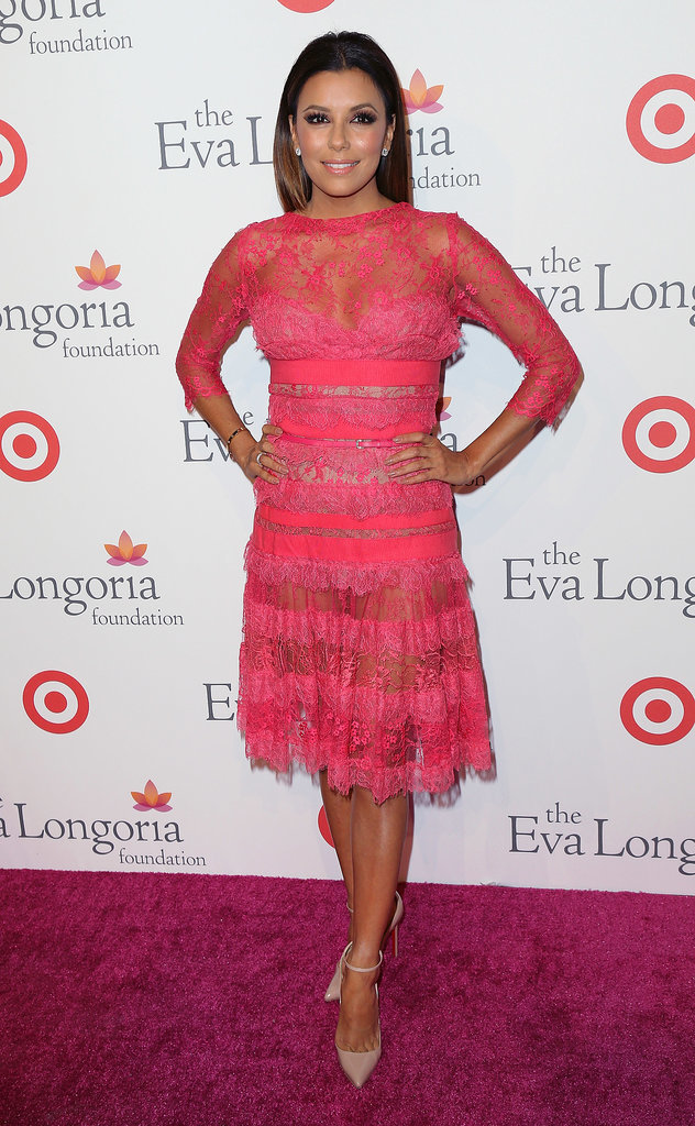 Don't let the delicate tiered lace of this hot pink Elie Saab creation fool you. Strategically placed sheer insets took this dress from sweet to sexy in a flash.