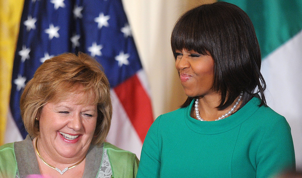 Michelle Obama laughed with Irish Prime Minister Enda Kenny's wife, Fionnuala, during a March 2013 reception.