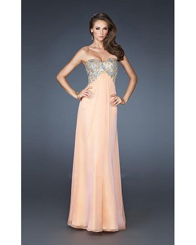 2014 18942 La Femme Long Dress Peach