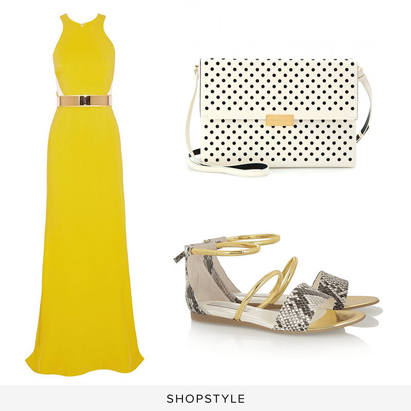 Stella McCartney Saskia Stretch-Cady Gown ($5,200), Stella McCartney Beckett Shoulder Bag ($1,178), Stella McCartney Snake-Effect Faux Leather Sandals ($515)