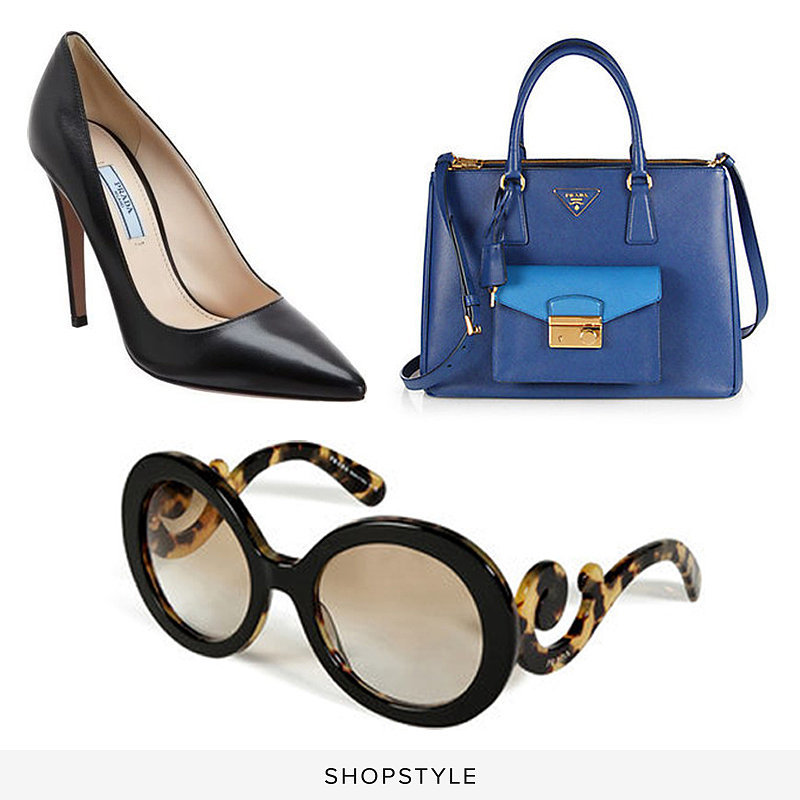 Prada Basic Point-Toe Pump ($650), Prada Saffiano Lux Bicolor Top-Handle Bag ($2,670), Prada Acetate Baroque Gradient Sunglasses ($290)
