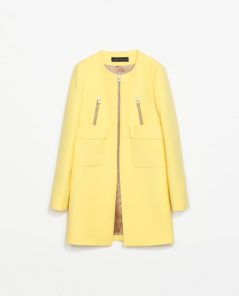 Zara yellow coat with pockets ($159)