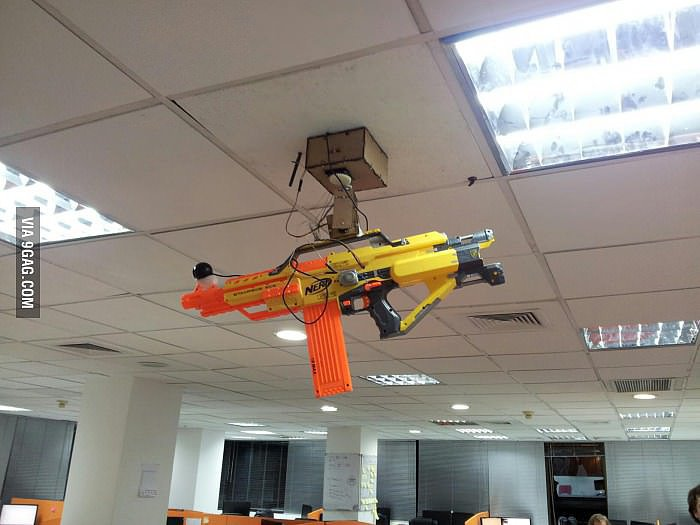 """Sentry Gun with webcam and remote controlled by smartphone."" Source: Imgur user beastn"