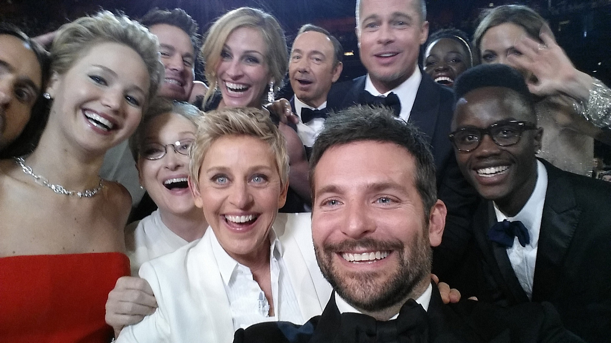 Here's that famous Oscars selfie that Ellen DeGeneres took in March 2014 with Bradley Cooper, Jennifer Lawrenc