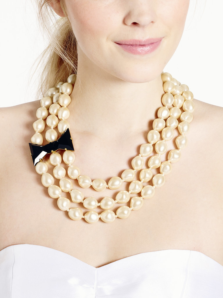 Kate Spade New York Black Tie Optional Three Strand Pearl Necklace With Black Bow ($49, originally $278)